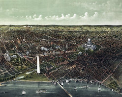 Washington D.C. Birds-eye View - 1892 Wall Map Mural - Peel and Stick 1-Panel - A stunning birds-eye view of Washington D.C. that captures the city looking north from the Potomac River.  This hand drawn panoramic map of our nation's capitol city was originally  published by Currier & Ives in 1892. Highlighted on this map are colorful  illustrations of the Whitehouse, Washington Monument, Capitol Building as well  as many other government buildings, streets and railroads.