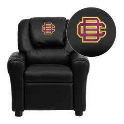 "Flash Furniture - Bethune-Cookman University Wildcats Embroidered Black Vinyl Kids Recliner - Get young kids in the college spirit with this embroidered college recliner. Kids will now be able to enjoy the comfort that adults experience with a comfortable recliner that was made just for them! This chair features a strong wood frame with soft foam and then enveloped in durable vinyl upholstery for your active child. This petite sized recliner is highlighted with a cup holder in the arm to rest their drink during their favorite show or while reading a book.; Bethune-Cookman University Embroidered Kids Recliner; Embroidered Applique on Oversized Headrest; Overstuffed Padding for Comfort; Durable Black Vinyl Upholstery; Easy to Clean Upholstery with Damp Cloth; Cup Holder in armrest; Solid Hardwood Frame; Raised Black Plastic Feet; Intended use for Children Ages 3-9; 90 lb. Weight Limit; Meets or Exceeds CA117 Fire Resistance Standards; Safety Feature: Will not recline unless child is in seated position and pulls ottoman 1"" out and then reclines; Assembly Required: Yes; Country of Origin: China; Warranty: 2 Years; Weight: 17.5 lbs.; Dimensions: 27""H x 24""W x 21.5 - 36.5""D"