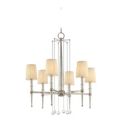 Hudson Valley - Hudson Valley 6016-PN 6 Light ChandelierLaurel Collection - Laurel fuses the clean, linear silhouette of Federalist styling with cascading droplets of modern glamour.  Stately historic inspiration is refreshed by the clear crystal beads, which rain down from center-mounted mobiles.  These strands of sumptuous deta