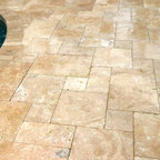 Travertine Pavers - French Pattern Gold Travertine Pavers - Tumbled Travertine - Travertine Pavers - French Pattern Gold  Travertine Pavers  Tumbled Travertine Pavers  Gold Travertine Pavers French gold travertine tiles Pattern Gold Travertine  Gold Travertine  Gold Travertine Pool  Golden Travertine Paver 4x9 Gold Travertine Copings. Photo Credit goes to Natural Springs Pools.