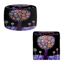 DiaNoche Designs - Ottoman Foot Stool - Purple Tree - Lightweight, artistic, bean bag style Ottomans. You now have a unique place to rest your legs or tush after a long day, on this firm, artistic furtniture!  Artist print on all sides. Dye Sublimation printing adheres the ink to the material for long life and durability.  Machine Washable on cold.  Product may vary slightly from image.