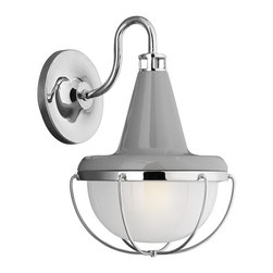 Murray Feiss - Murray Feiss WB1727HGG-PN Livingston Wall Sconce - Restoration-Vintage Wall Sconce in High Gloss Gray - Polished Nickel with Sandblast Inside-Clear Outside glass from the Livingston Collection by Murray Feiss.