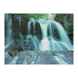 Oriental Unlimited - Waterfall Canvas Wall Art - Here we're offering unique, fine art quality nature photography at it's most creative. A time lapsed photograph, with the shutter left open to over expose falling water, producing a beautiful, ethereal effect. The water looks like glowing quicksilver pouring over the cliff, imagery from an alternative universe. Substantial size wall decor; two and half foot photo print. Beautiful outdoor photographic image of a forest waterfall. Unique, over exposed effect creates ethereal glowing water. Printed on art quality canvas stretched on mitered wood frame. From a unique collection of canvas wall art and art printed room dividers. We offer a vast array of images of the natural world; the stars and planets, our globe, mountains, forests, oceans, as well as people, animals and plants. It's relatively simple to hang one of our canvas room dividers on the wall, as they are quite light and have outstanding wall art on both sides. 23.5 in. W x 1 in. D x 31.5 in. H