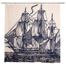 Thomaspaul - Ship Shower Curtain SC0258-INK at 2Modern