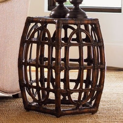 Tommy Bahama by Lexington Home Brands Royal Kahala Oval Reef Kona Wood Accent Ta - The Tommy Bahama Royal Kahala Oval Reef Kona Wood Accent Table has a handmade, Caribbean style that adds a welcome dash of elan to any decor. This charming accent table's unique design is supported by a barrel-shaped frame made from leather-wrapped bent rattan, making it lightweight, yet sturdy. The handsome pentagon-shaped top is made from mitered sugar cane and features the rich Kona dark coffee finish. Place this in your living room next to a leather sofa or into any corner to bring new life to any room. Piece comes fully assembled and requires no assembly.About Lexington Home BrandsFounded in 1903 in High Point, NC, Lexington Home Brands has become a globally known manufacturer and marketer of unique home furnishings. They are an industry leader in design, style, and quality products. Their product line consists of upholstered and hardwood furniture under recognized brands such as Lexington, Tommy Bahama, Sligh, and Henry Link Trading Co.. Lexington Home Brand's intentions and aspirations are to create exclusive designs and styles that accommodate the traditional, contemporary, casual, and formal decors of their customers' homes.