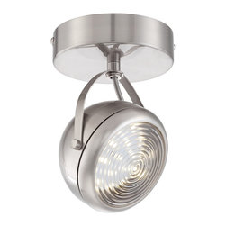 "ProTrack - Contemporary Round Back Brushed Steel LED Adjustable Ceiling Fixture - Accent your home with LED lighting power from this one light Pro Track spot light. The design features a brushed steel finish canopy and accents with an LED light that is fully adjustable and can be aimed as needed. Round faceplate accent.  Brushed steel finish.  Adjustable spot head.   Includes one 5 watt LED.  5 Watts of LED equivalent to 40W Incandescent .   Light output 95 lumens.   Not dimmable.  4 1/2"" wide.  4 1/2"" height.  6"" extension.  Canopy 4 1/2"" diameter."