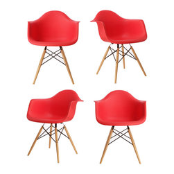 Ariel - Set of 4 Eames Style Molded Red Plastic Dining Armchair W/ Wood Eiffel Legs - This set of 4 Eames Style DAW Molded Black Plastic Dining Armchair with Wood Eiffel Legs comes with four beautiful ergonomic arm chairs to easily provide extra seating for your family and guests. Sporting a clean, simple, retro, yet modern design sculpted to fit the body, this gorgeous armchair set is the perfect addition to the kitchen, patio, or deck. Also available in white, black, or light blue.