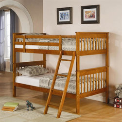 Coaster - Twin Over Twin Bunk Bed in Pine Finish - Mattresses not included. Twin over twin bunk bed. Made from solid pine wood. Attached Ladder. Requires two 9 in. thick twin mattresses. Casual style. Full length guard rails. 79 in. L x 41.75 in. W x 60.5 in. H. Warranty. Bunk Bed Warning. Please read before purchase.. NOTE: ivgStores DOES NOT offer assembly on loft beds or bunk bedsWhether your children share a room or you are looking for a fun youthful style, this twin over twin bunk bed will make a practical addition to your home.