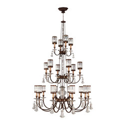 Fine Art Lamps - Eaton Place Chandelier, 584840ST - Here's an uncommon — yet captivating — combination for your favorite formal setting: sparkling crystal pendants and faceted channel-set shades held aloft by solid, iron-finished boughs.