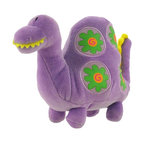 Happy House Purple Dinosaur Plush Rattle Baby Toy - This purple dinosaur is tons of fun, it`s a super soft plush toy with a rattle inside that will keep your little one entertained! It is 100% polyester, including the stuffing inside, and measures 5 1/2 inches tall, 8 inches wide. This plush toy is recommended for all ages, and is machine washable in cold water.