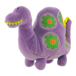 Happy House Purple Dinosaur Plush Rattle Baby Toy - This purple dinosaur is tons of fun, it's a super soft plush toy with a rattle inside that will keep your little one entertained! It is 100% polyester, including the stuffing inside, and measures 5 1/2 inches tall, 8 inches wide. This plush toy is recommended for all ages, and is machine washable in cold water.
