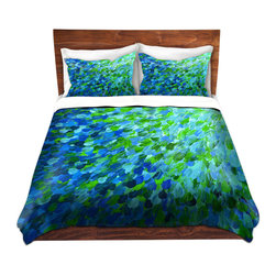 DiaNoche Designs - Duvet Cover Microfiber by Julia Di Sano - Splash Out Green - DiaNoche Designs works with artists from around the world to bring unique, artistic products to decorate all aspects of your home.  Super lightweight and extremely soft Premium Microfiber Duvet Cover (only) in sizes Twin, Queen, King.  Shams NOT included.  This duvet is designed to wash upon arrival for maximum softness.   Each duvet starts by looming the fabric and cutting to the size ordered.  The Image is printed and your Duvet Cover is meticulously sewn together with ties in each corner and a hidden zip closure.  All in the USA!!  Poly microfiber top and underside.  Dye Sublimation printing permanently adheres the ink to the material for long life and durability.  Machine Washable cold with light detergent and dry on low.  Product may vary slightly from image.  Shams not included.