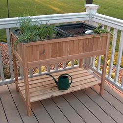 Prairie Leisure - Prairie Leisure Herb Garden Raised Planter with 2 Liners - 55-UNFINISHED - Shop for Planters and Pottery from Hayneedle.com! About Prairie LeisureLocated in Pierz Minn. Prairie Leisure Design manufactures casual outdoor furniture. Their products have a traditional design and are made in the USA from Red Cedar or Aspen a North American hardwood. They offer a wide variety of products designed for every age group: elderly adults juniors and kids. Ideal for relaxing and socializing in the great outdoors Prairie Leisure Design furniture adds comfort and style to any backyard or patio.