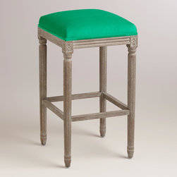 World Market - Emerald Paige Backless Barstool - An elegant take on a classic, our Emerald Paige Backless Barstool is crafted of American white oak with carved details and a distressed finish. Plush velvet upholstery makes this exclusive barstool a stylish seating update for the home bar.