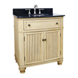"Hardware Resources - 32"" Wide MDF Vanity  VAN028-T - This 32"" wide MDF vanity has simple beadboard doors and curved shape to accent the traditional cottage feel. The buttercream finish with antique crackle is created by hand, making each vanity unique. A large cabinet, fully functional top drawer fitted around plumbing and interior pull-out drawer, equipped with ball bearing slides, provide ample storage.  This vanity has a 2CM black granite top preassembled with an H8809WH (15"" x 12"") bowl, cut for 8"" faucet spread, and corresponding 2CM x 4"" tall backsplash.  Overall Measurements: 32"" x 23"" x 35"" (measurements taken from the widest point) Finish: Painted Buttercream Material: MDF Style: Traditional Coordinating Mirror(s): MIR028, MIR028-48, MIR028D-60 Bowl: H8809WH"