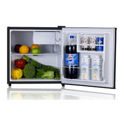 SPT - SPT Energy Start 1.6 cu. ft. Stainless Refrigerator - Flush back, compact design is ideal for college dorm room or office, perfect for counter-top placement. Reversible doors offer versatility. Features tall bottle door rack, removable shelf and adjustable thermostat.