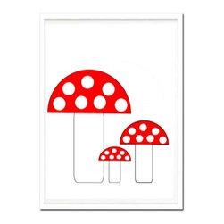 Kshoo Design - Mushrooms Art Print, Frame Not Included, 8x10 - -Art print digitally created