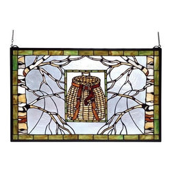 "Meyda Tiffany - Meyda Tiffany 69502 Stained Glass Tiffany Window Outdoor Windows Collec - 28"" W X 18"" H Adirondack Pack Basket WindowBare Branched Tan And White Birch Trees Frame A Rattan Beige Pack Basket With Leather Brown Straps.  The Frame And Inset Frame Are Bordered In A Rust Streaked FinishIncludes Mounting Brackets and Chains"
