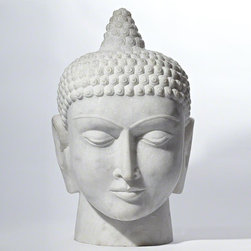 Studio A - Studio A Siddhartha - Carved from a solid piece of white marble, STUDIO A's Buddha head sculpture is as serene as it is beautiful.