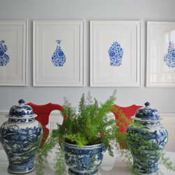 Blue and White Floral Chinoiserie Vase Giclee by The PinkPagoda - Wouldn't a grouping of these blue and white Chinese vase giclees be beautiful in your kitchen, breakfast room, dining room or foyer?