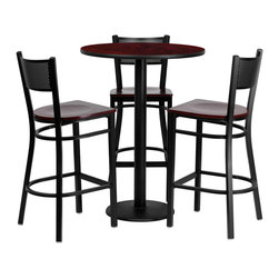 "Flash Furniture - 30'' Round Mahogany Laminate Table Set with 3 Grid Back Metal Bar Stools - 30"" Round Mahogany Laminate Table Set with 3 Grid Back Metal Bar Stools - Mahogany Wood Seat; Round Table and Metal Restaurant Bar Stool Set; Set Includes 3 Bar Stools, Round Table Top and Round Base; Metal Restaurant Bar Stool; Grid Back Design; Grid Back Design; Mahogany Finished Wood Seat; .75"" Thick Plywood Seat; 18 Gauge Steel Frame; Welded Joint Assembly; Two Curved Support Bars; Foot Rest Rung; Black Powder Coated Frame Finish; Plastic Floor Glides; Lightweight Design; Designed for Commercial Use; Suitable for Home Use; Overall Size: 19""W x 19.5""D x 42.25""H; Seat Size: 16.25""W x 16.5""D x 28.5""H; Back Size: 16""W x 13.5""H; Restaurant/Banquet Table Top; 1.125"" Thick Round Top; High Impact Melamine Core; Weight: 98 lbs; Overall Dimensions: 30""W x 30""D x 42""H"