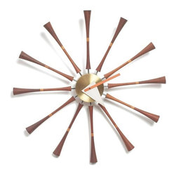 George Nelson - Retro Wooden Wall Clock - No assembly required. 19.25 in. Dia. x 1.75 in. D. Weight: 1.8 lbs.