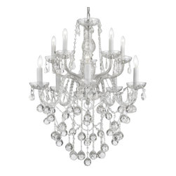 "The Gallery - All Crystal chandelier Lighting with 40Mm Crystalalls - This magnificent chandelier is dressed with 100% crystal. Nothing is quite as elegant as the fine crystal chandeliers that gave sparkle to brilliant evenings at palaces and manor houses across Europe. This beautiful chandelier is decorated with 100% crystal that captures and reflects the light of the candle bulbs, each resting in a scalloped bob ache. The crystal arms of this wonderful chandelier give it a look of timeless elegance that is sure to lend a special atmosphere in any home. This chandelier is dressed with spectacular Crystalalls which take the sparkle to an entirely new level of brilliance! Assembly Required. Size: H 30"" W 24"". 10 Lights. This item also works with energy efficient bulbs, halogen bulbs, compact fluorescent bulbs, LED bulbs etc. (not included)."