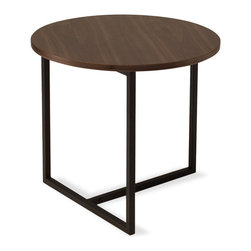 Bryght - Turner Walnut Round End Table - Sleek metal legs extend perpendicular to the wooden top creating an eclectic focal point. Combine the Turner end table with other tables from the Turner collection to create your own individual style