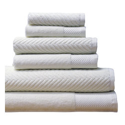 Spa Elegance - Spa-100% Egyptian-Cotton Jacquard 6-Piece Towel Set, White - Soft, comfortable towels come in a classic set of six, all with jacquard chevron patterning and a dense, absorbent 600gsm construction