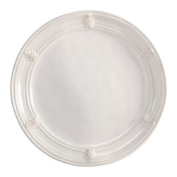 """Ancanthus Charger - 14"""" - Classically elegant, the perfect foundation to a formally concentric place setting, the Acanthus Charger is made in Portugal. This piece is designed not only with an architectural motif for classic symmetry, but also with quality construction that stands up to use in the dishwasher and oven, as well as an ample size that makes it useful as a serving piece on more casual occasions."""
