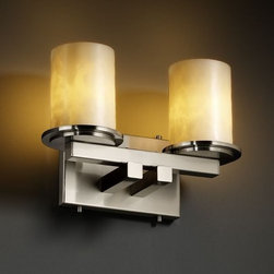 """Justice Design Group - Justice Design Group CLD-8772 Dakota 2 Light Straight Bar Bathroom Wall Sconce - Justice Design Group CLD-8772 Dakota 2 Light Straight Bar Bathroom Wall Sconce from the Clouds CollectionThe Clouds Collection is the perfect choice for design applications that require a clean, """"soft-contemporary"""" look. With a composition of neutral color tones, this collection will add a warm ambient glow to any decor.From an elegant lamp atop a contemporary end table to a dramatic sconce illuminating a formal entryway, Justice Design offers a wide array of lighting solutions for residential and commercial settings. Create a mood, complement a theme, or simply add the perfect accent with a Justice Design decorative lighting fixture."""