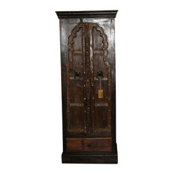 "Old World Carved Cabinet - 68"" Tall Old World Carved Cabinet is made out of a beautifully reconditioned shutters and has hand forged iron hardware. Storage for all your odds and ends. This cabinet is truly unique and worthy of admiration. Many of the pieces in our collection have recycled wood in one way or another. Old World Style Furniture can be added to almost any home decor. Approx"