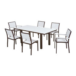 Polywood - Euro 7-Piece Dining Set in White - Fill your outdoor entertaining space with the modern sophistication, natural beauty and optimum comfort of the Euro 7-Piece Dining Set. You'll love how the warm wood look of this set. This comfortable set is durable enough to stand the test of time and weather because its built with solid recycled lumber that provides the look of painted wood without the maintenance. Polywood lumber requires no painting, staining, waterproofing, or similar maintenance. Polywood lumber does not splinter, crack, chip, peel or rot and it is resistant to corrosive substances, insects, fungi, salt spray and other environmental stresses and also resists stains associated with wine and condiments.