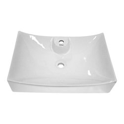 Fine Fixtures - Ceramic White Bathroom Vessel Sink - This vessel sink features a sleek rectangular shape with modern angles that will add an updated look to any bathroom remodel. With a pristine ceramic construction,this white sink will look immaculate for years.