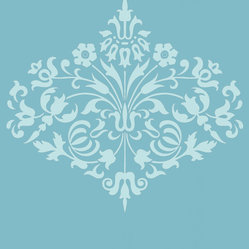 Amy Butler Wallpaper - Fountain - Ocean, Swatch