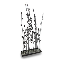 Zeckos - Leafy Vines Rock Garden Decorative Metal Sculpture 31 In. - Both sculptural and stylish, this decorative leafy vine garden will dress up your table, counter or shelf whether in the entryway, bedroom, or bath Crafted from metal with a textured and hand-painted mottled matte black and metallic silvered finish, these leafy vines seemingly grow from a base of small rocks, and requires no water It'll add a touch of nature to any space, and at 31 inches high, 14.5 inches long and 5 inches wide (78 x 37 x 13 cm), it creates a wonderful focal point invoking feelings of relaxation. It's a great accent for the office, and makes a wonderful housewarming gift sure to be enjoyed
