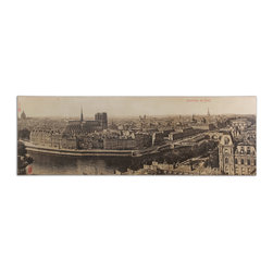 "Uttermost - ""Panorama de Paris"" Vintage Art - Eight feet of Paris in the round. It's the next best thing to being there. Printed on canvas, this highly detailed rendition of Paris at the turn of the century is an eye-catching, conversation piece. Stretched on canvas, it doesn't need a frame. It's a wonderful reminder of a wonderful city."