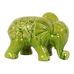 """Benzara - Embellished with Beautiful Motifs Adorable Ceramic Elephant in Green - Charming and adorable, the Embellished with Beautiful Motifs Adorable Ceramic Elephant in Green features elegant contours, intricate lines and exquisite carved features. This adorable ceramic elephant comes in a lovely green color and sports a slightly weathered effect for that antique look and feel. This cute ceramic figure resembles a baby elephant walking with its trunk almost touching the ground. The dimensions of the Embellished with Beautiful Motifs Adorable Ceramic Elephant in Green are 10.5""""x6""""x7""""H. Ceramic; Green; 10.5""""x6""""x7""""H; Dimensions: 11""""L x 6""""W x 7""""H"""