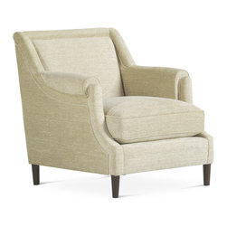 Baker Furniture - Priam Chair - Lounge Chair with a tight, slightly rolled back and a stepped roll arm. Loose seat. Tapered legs.