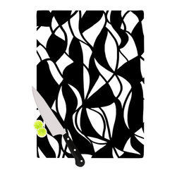 """Kess InHouse - Emine Ortega """"Sinuous"""" Black White Cutting Board (11.5"""" x 15.75"""") - These sturdy tempered glass cutting boards will make everything you chop look like a Dutch painting. Perfect the art of cooking with your KESS InHouse unique art cutting board. Go for patterns or painted, either way this non-skid, dishwasher safe cutting board is perfect for preparing any artistic dinner or serving. Cut, chop, serve or frame, all of these unique cutting boards are gorgeous."""