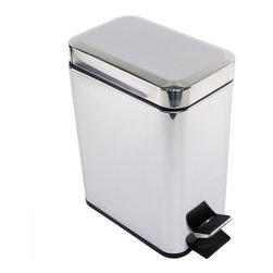 Gedy - Rectangular Polished Chrome Waste Bin With Pedal - Modern, rectangular waste bin with pedal and cover.