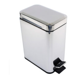 Gedy - Rectangular Polished Chrome Waste Bin With Pedal - Modern, rectangular waste bin with pedal and cover.