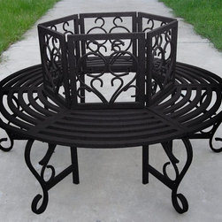 Oakland Living - Scroll Tree Bench - Metal hardware. Fade, chip and crack resistant. Center can accommodate tree up to 24 in. Dia.. Warranty: One year limited. Made from tubular iron. Aged terra cotta hardened powder coat finish. Minimal assembly required. 59 in. Dia. x 35 in. H (87 lbs.)Our tree benches are the perfect edition to any setting. Adds beauty and style to your outdoor patio, back yard, or garden. The Oakland Collection has a wide range of practical designs giving you a rich addition to any outdoor setting. The functional designs make every piece in this collection ideal for any back yard, patio or garden setting. Each piece is hand cast and finished for the highest quality possible.