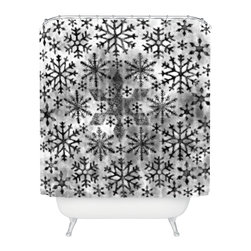 DENY Designs - DENY Designs Ruby Door Snow Leopard Snowflake Shower Curtain - Who says bathrooms can't be fun? To get the most bang for your buck, start with an artistic, inventive shower curtain. We've got endless options that will really make your bathroom pop. Heck, your guests may start spending a little extra time in there because of it!
