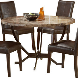 Hillsdale Furniture - Hillsdale Monaco 48x48 Round Dining Table - Hillsdale Furniture's Monaco dining collection offers luxury and elegance at a price you can afford. A dynamic faux marble top sits atop a dramatic and strong metal globed base, and our sumptuous parson's chairs subtly compliment the rich colors in the table top. Comfortable and understated, the upholstered parson's chairs are covered in a rich brown leather with attractive stitched accents. A fantastic addition to any kitchen or dining room, the Monaco dining is constructed of wood composites, marble veneers, solid wood, and leather. Some assembly required.