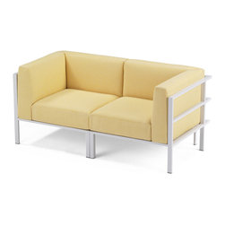 Link Outdoor - Link Outdoor - Echo Collection - Echo is a versatile collection suitable for indoors as well as outdoors. Featured is the Echo Loveseat in plantation teak and stainless steel with powdercoat finish in bone white.  Link Outdoor collections of furniture and fabrics can be seen in fifteen trade showrooms throughout the country.  (c) Link Outdoor