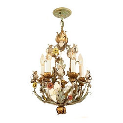 Antique 1940 Five Light Hand Painted Tole Fixture - Antique Ceiling Fixture Circa 1940, Five Light, Hand Painted Tole Fixture with Decorative Leaf and Floral Details. Original Finish.
