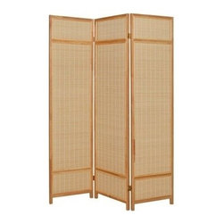 Pine Layered Screen - Separate the room with sophistication when you unfold this three-panel screen. The bamboo gives your decor a natural look, and the pine frame provides sturdy discreetness.