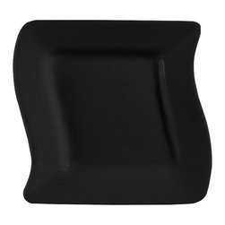 CAC China - Soho Pattern 8 1/2 Inch Black Square Plates - Case of 24 - C.A.C. China provides durable dinnerware at all levels including super white porcelain, fine bone china, American white china, colored glaze china, and Asian style china. C.A.C China offers a variety of innovative shapes from square rectangular triangular wavy to round that will brighten up any table. All C.A.C China products are oven microwave and dishwasher safe.