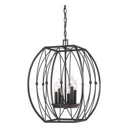Quoizel - Quoizel QZ-QF1687IB - The curves of this cagechandelier set it apart from your average design.  It gives a contemporary twist on this category and is finished in a beautiful Imperial Bronze.  Regina surely raises the ordinary to extraordinary.